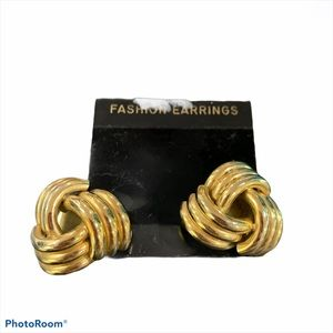 Vintage gold knots large clip on earrings fashion